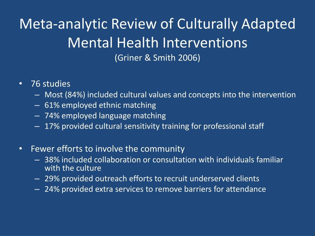 Meta-analytic Review of Culturally Adapted Mental Health Interventions