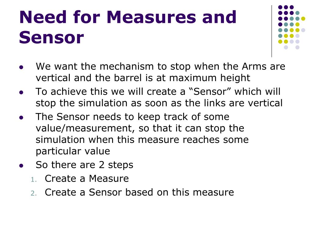 Need for Measures and Sensor