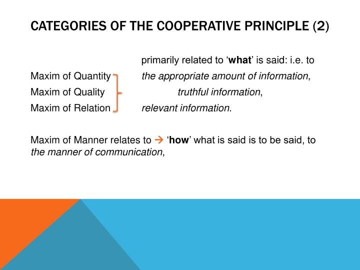 Categories of the cooperative principle (2)