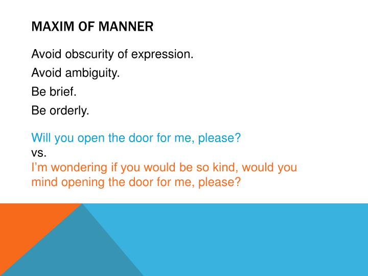 Maxim of manner