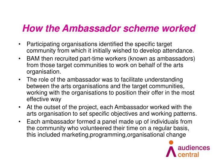 How the Ambassador scheme worked