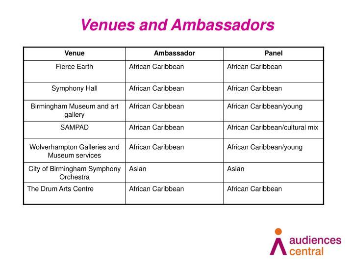 Venues and Ambassadors