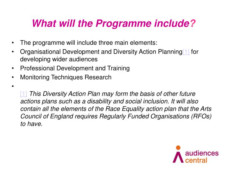 What will the Programme include