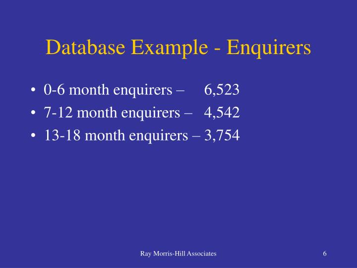 Database Example - Enquirers