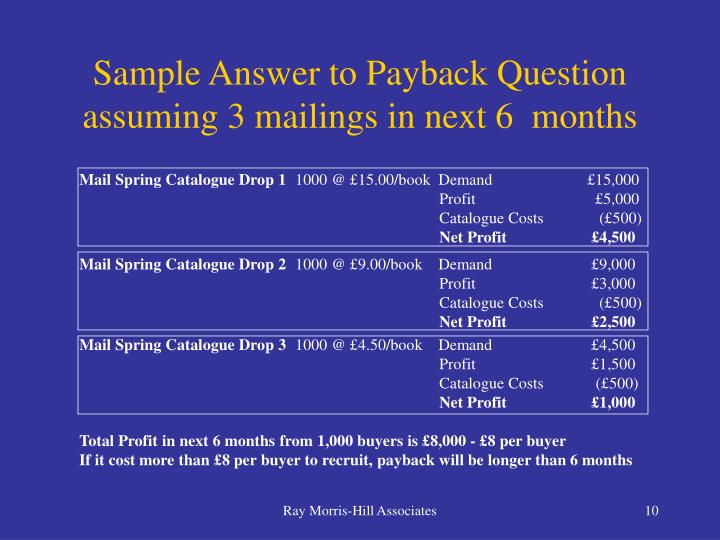Sample Answer to Payback Question assuming 3 mailings in next 6  months