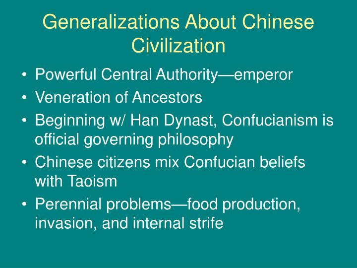 Generalizations about chinese civilization