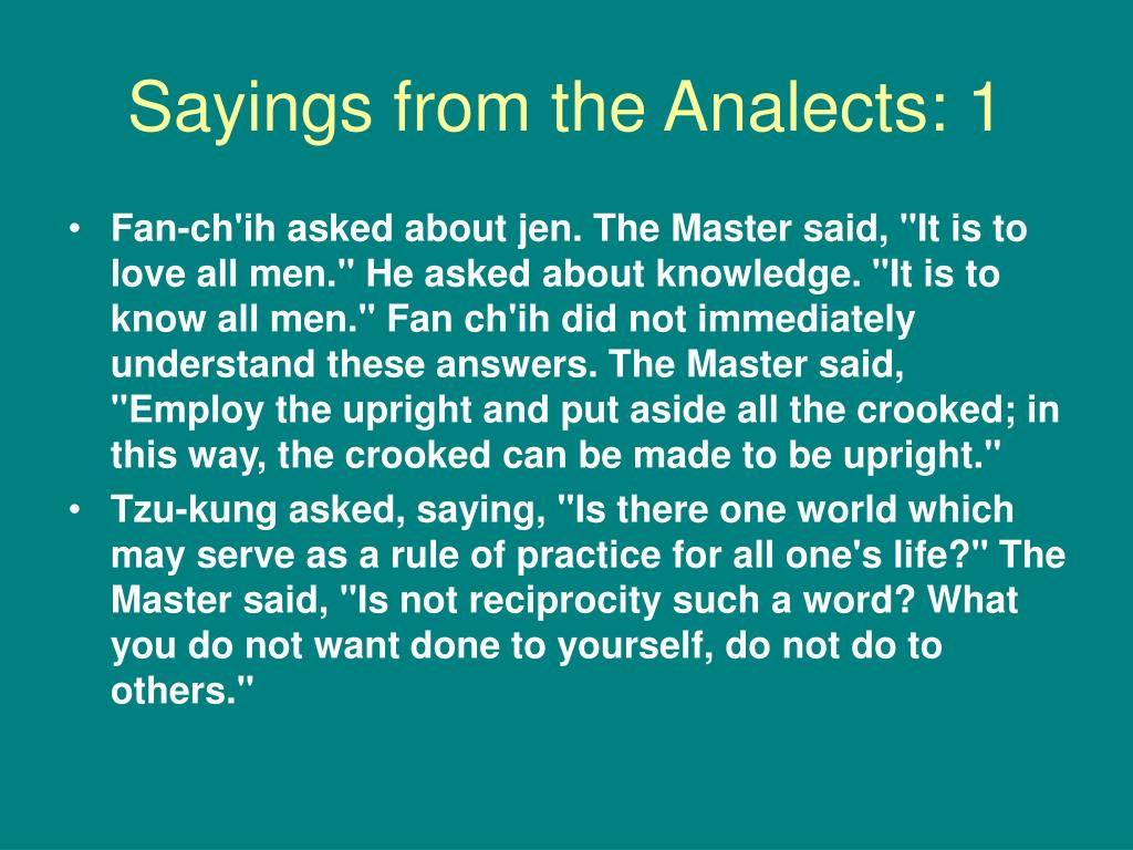 Sayings from the Analects: 1