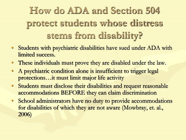 How do ADA and Section 504 protect students whose distress stems from disability?