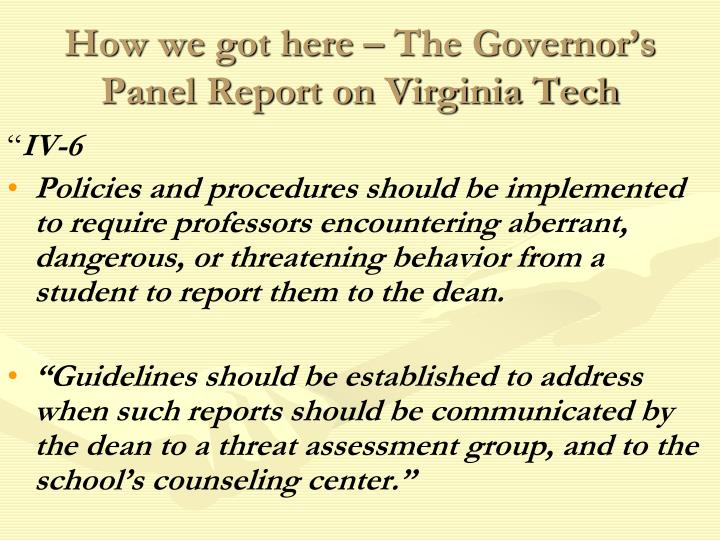 How we got here – The Governor's Panel Report on Virginia Tech