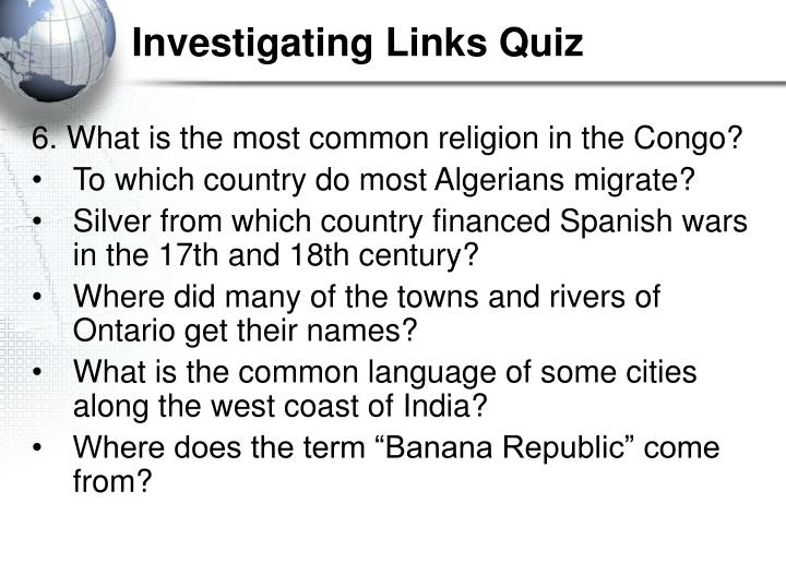 Investigating links quiz3