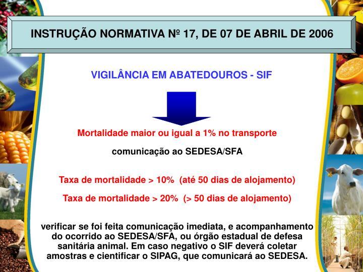 INSTRUÇÃO NORMATIVA Nº 17, DE 07 DE ABRIL DE 2006