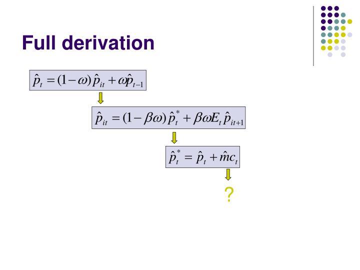 Full derivation