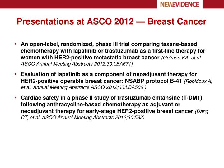 Presentations at ASCO 2012 — Breast Cancer