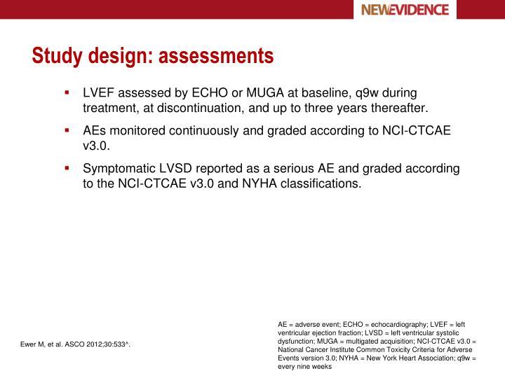 Study design: assessments