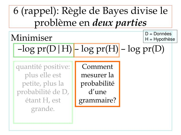 6 (rappel): Règle de Bayes divise le problème en