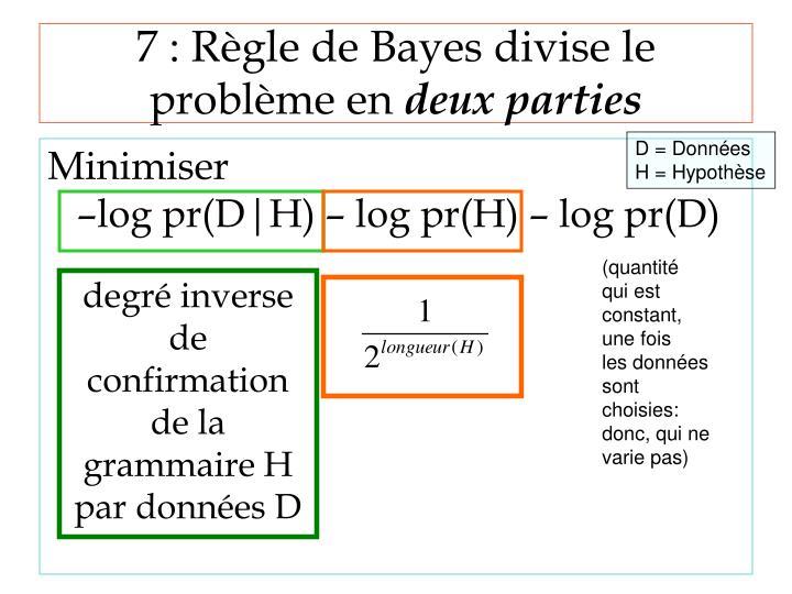 7 : Règle de Bayes divise le problème en