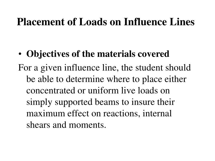 Placement of loads on influence lines