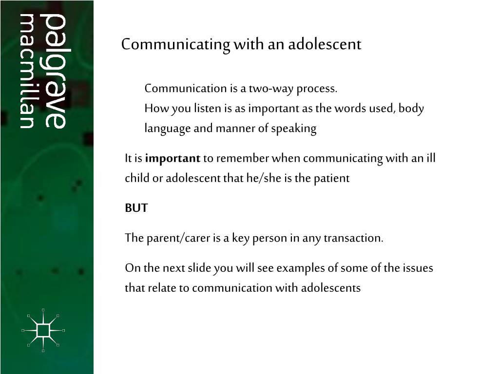 Communicating with an adolescent