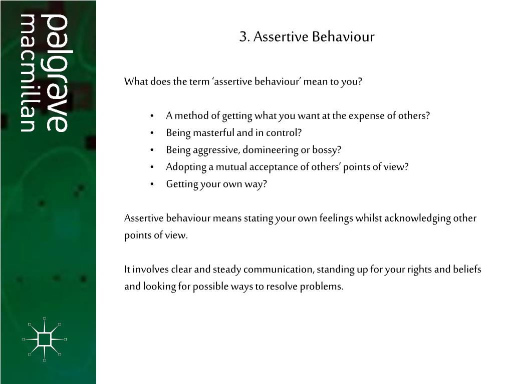 3. Assertive Behaviour