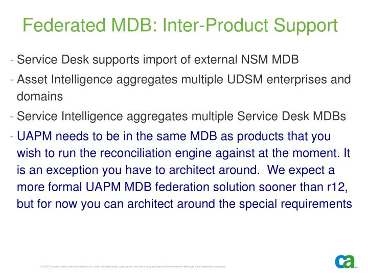 Federated MDB: Inter-Product Support