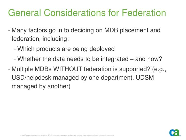 General Considerations for Federation
