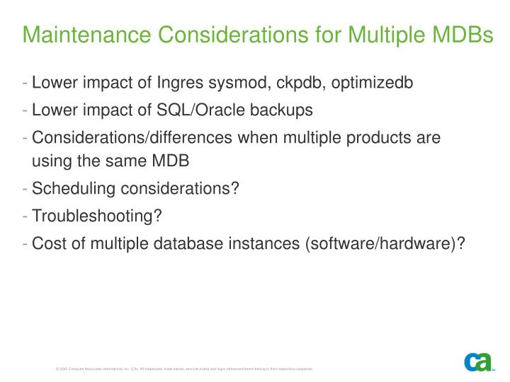 Maintenance Considerations for Multiple MDBs