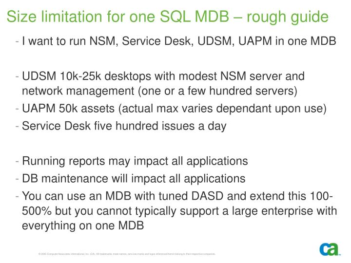 Size limitation for one SQL MDB – rough guide