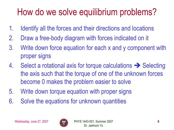 How do we solve equilibrium problems?