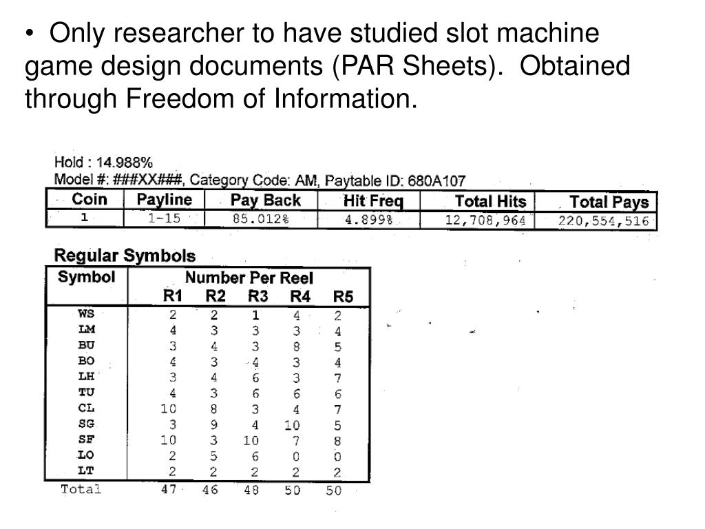 Only researcher to have studied slot machine game design documents (PAR Sheets).  Obtained through Freedom of Information.