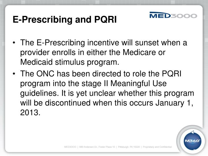 E-Prescribing and PQRI