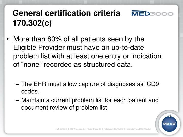General certification criteria