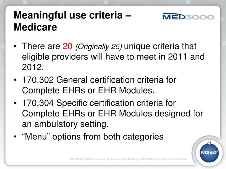 Meaningful use criteria –