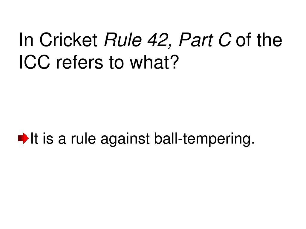 In Cricket