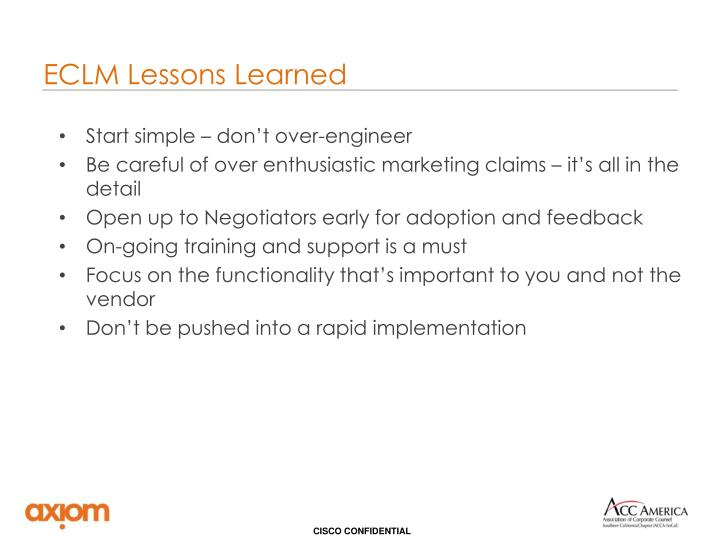 ECLM Lessons Learned