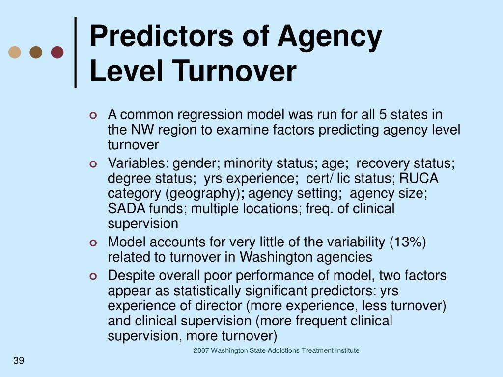 Predictors of Agency Level Turnover