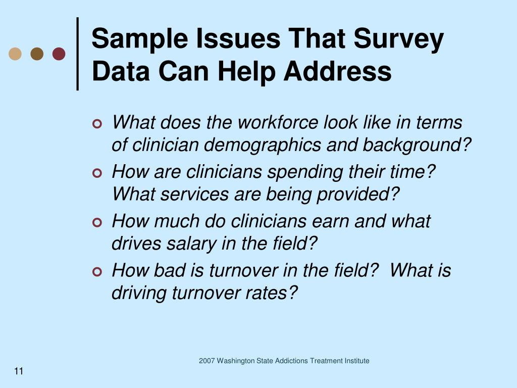 Sample Issues That Survey Data Can Help Address