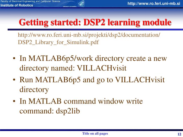 Getting started: DSP2 learning module