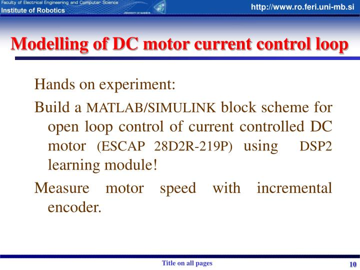 Modelling of DC motor current control loop