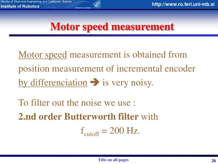 Motor speed measurement