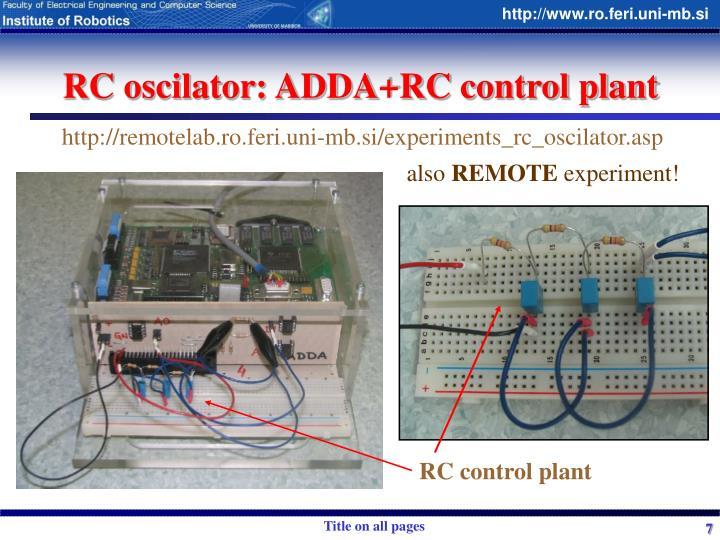 RC oscilator: ADDA+RC control plant