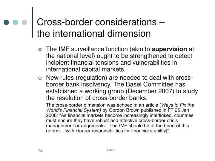 Cross-border considerations –