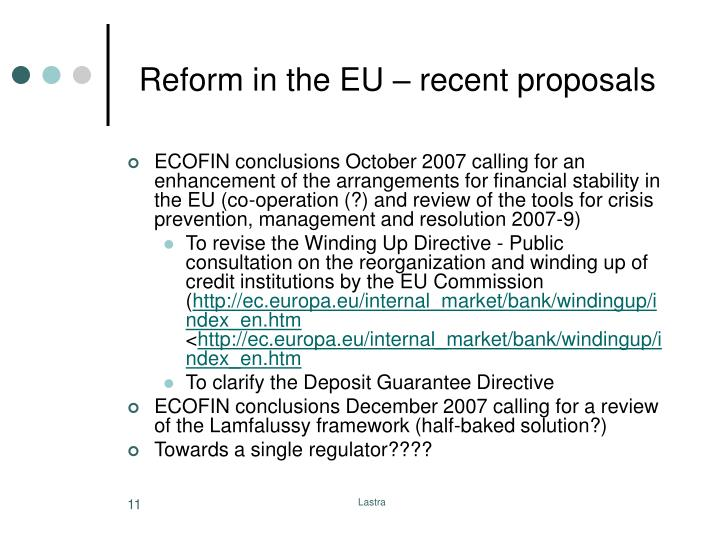 Reform in the EU – recent proposals