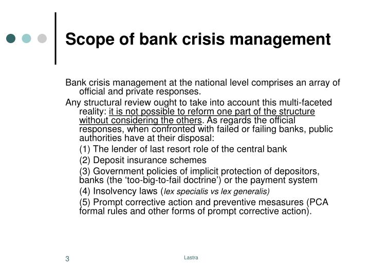 Scope of bank crisis management