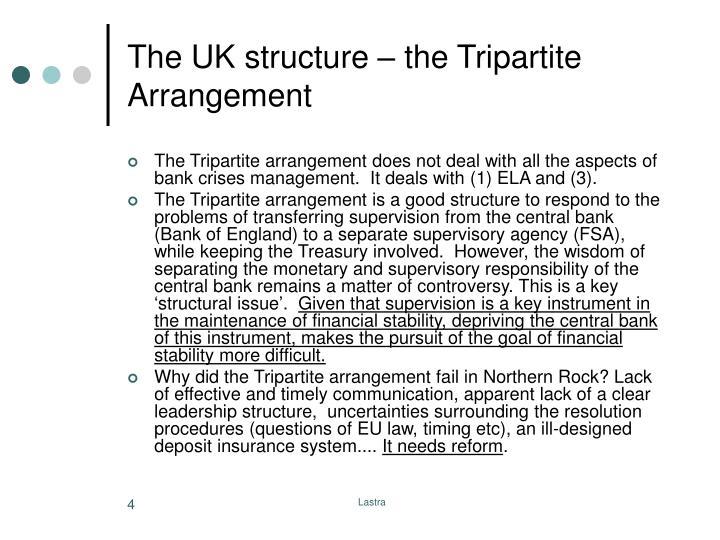 The UK structure – the Tripartite Arrangement