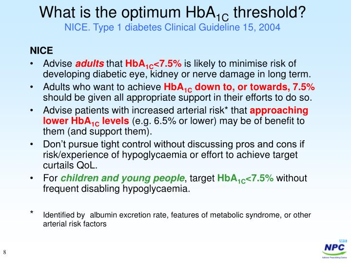 What is the optimum HbA
