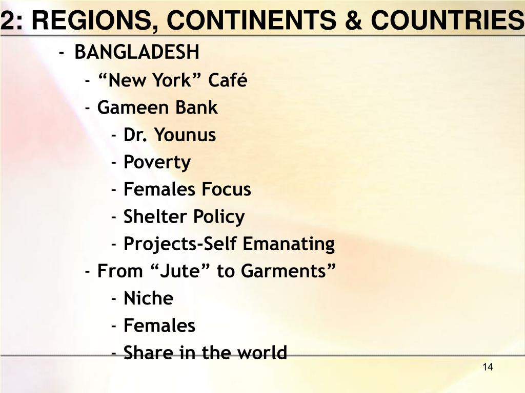 2: REGIONS, CONTINENTS & COUNTRIES