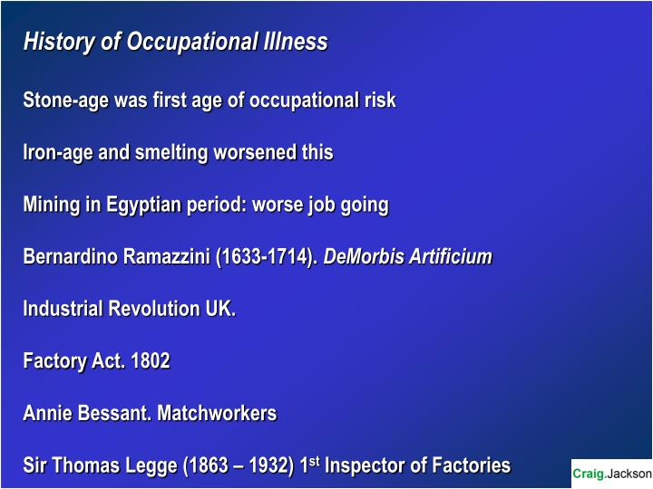 History of Occupational Illness