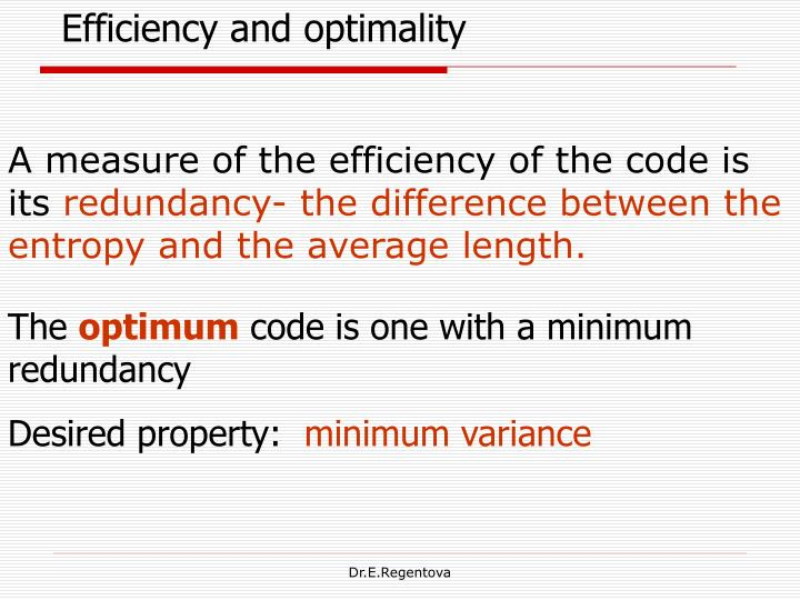 Efficiency and optimality