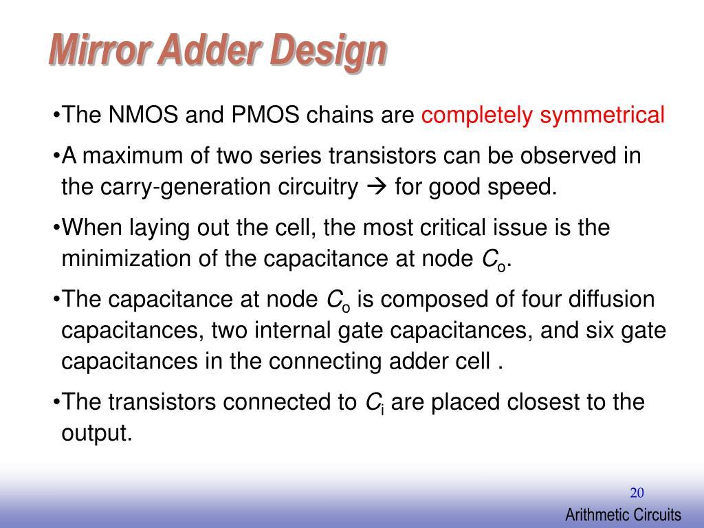 Mirror Adder Design