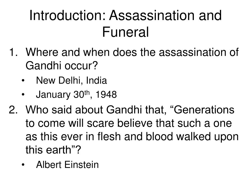 Introduction: Assassination and Funeral